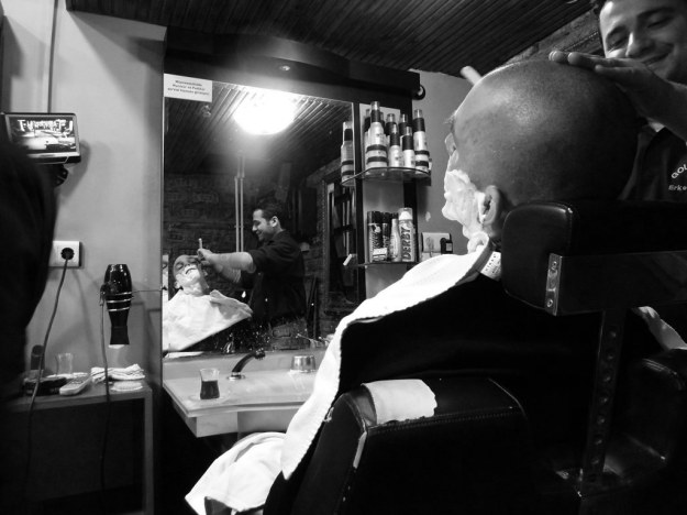 straight razor shave at a barber shop in istanbul