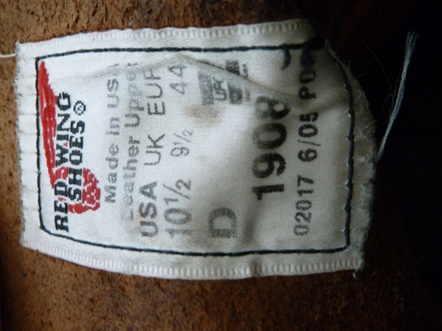 Red Wing 1908  moc toe of the boot label