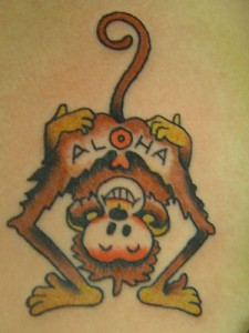 """cute"" Sailor Jerry Aloha Monkey Tattoo"