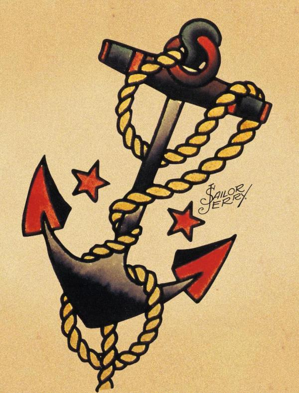 cool Sailor Jerry Anchor Tattoo