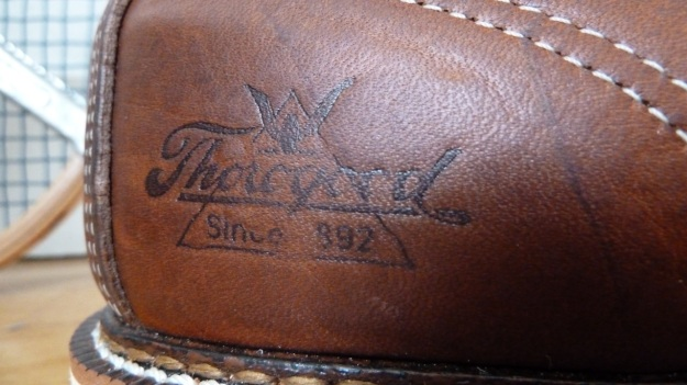Thorogood Moc Toe boots brand name on the heel