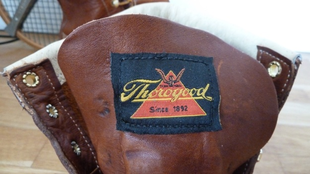 Thorogood Moc Toe boots logo on the front