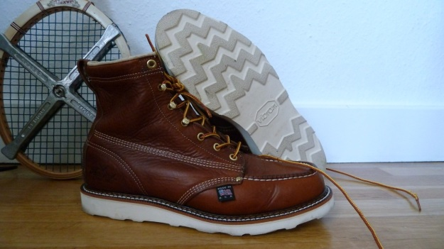Thorogood Moc Toe boots sideview with sole
