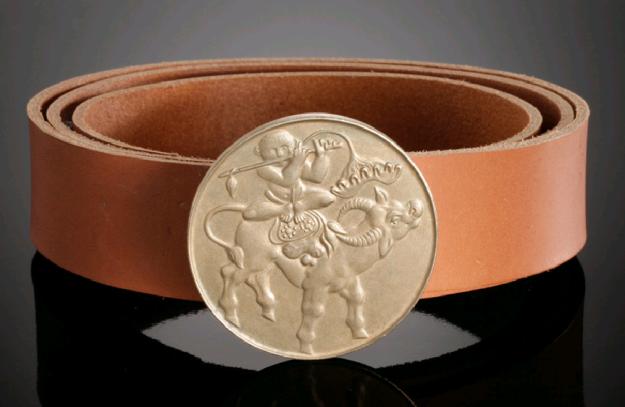feinschmuck belt buckle, gürtelschnalle - wasserbüffel und chinese