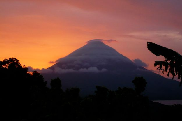 sunset from omnetepe nicaragua with the vulcano