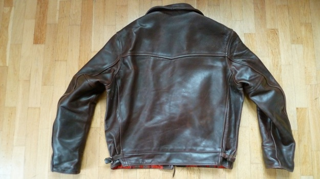 Aero Leather Highwayman Heavy Front Quarter Horsehide jacket brown back view