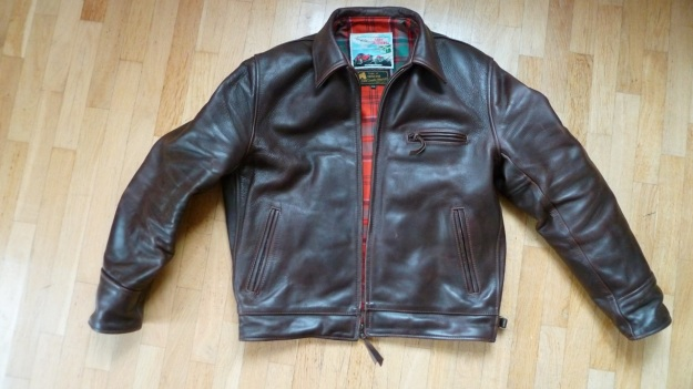 Aero Leather Highwayman Heavy Front Quarter Horsehide jacket brown full front view