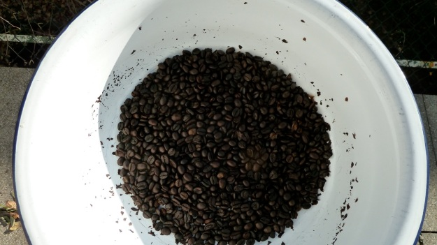 home coffee roasting with the whirley - bowl to seperate the skin from the beans