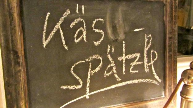 Käs Spätzle or cheese noodles on the board