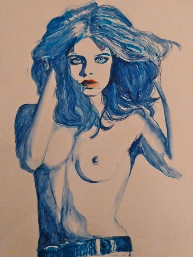 uschi obermaier drawing by maria wallenstein
