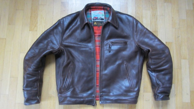 brown highwayman horsehide leather jacket by aero leather after 9 month
