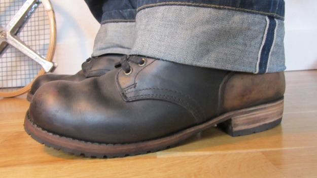 german post WWII vintage boots from baltes with pike brothers roamer pant / jeans