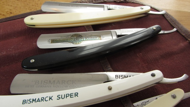 straight razor blade collection bismarck, solingen, kober, buntenbach bismarck in front