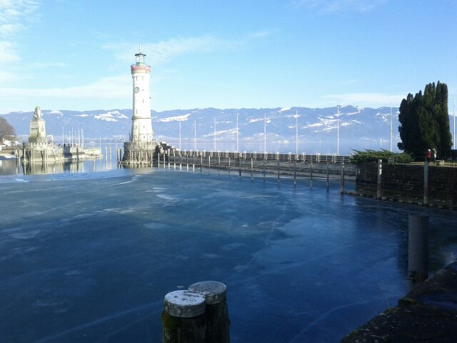 lindau harbour with the lighthouse and the lion
