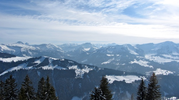 alpine skiing in the bregenzer wald - panorama