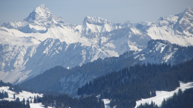 alpine skiing in the bregenzer wald panorama from the summit
