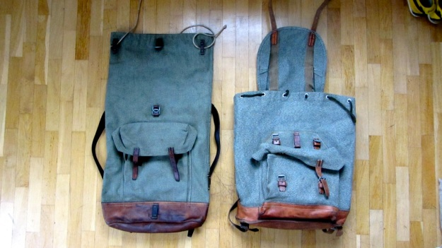 swiss army backpack salt and pepper small vs. big  - both main view