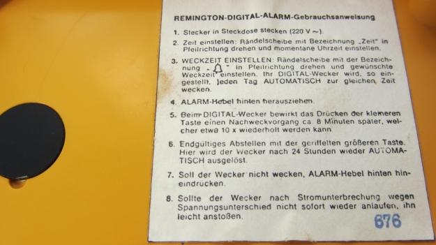 alarm clocks - 5 more minutes ! remington sperry orange instructions
