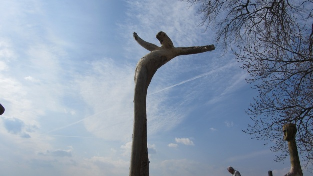 barbecue with friends at the lake of constance  - wooden sculpture