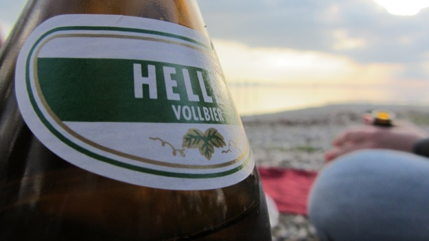 barbecue with friends at the lake of constance - augustiner helles