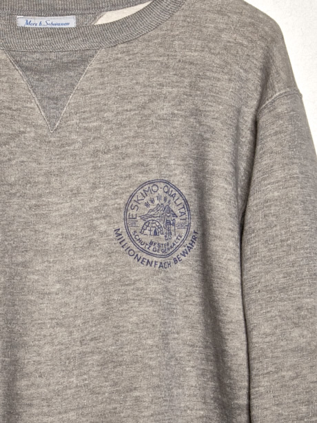 merz b. schwanen sweater 343 Eskimo fleece printed - detail crew neck - detail print