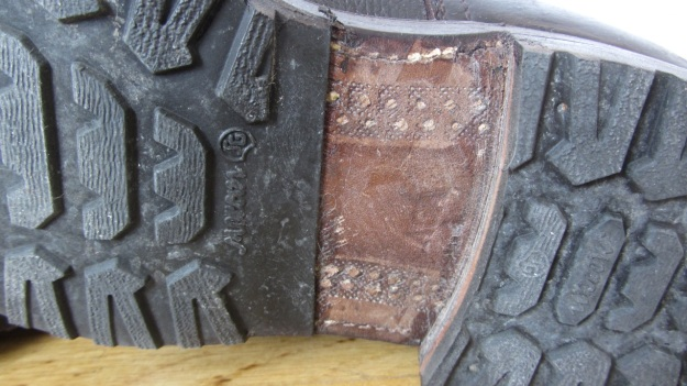 Swedish Army boots from 1943 after the resole - with rubber sole now