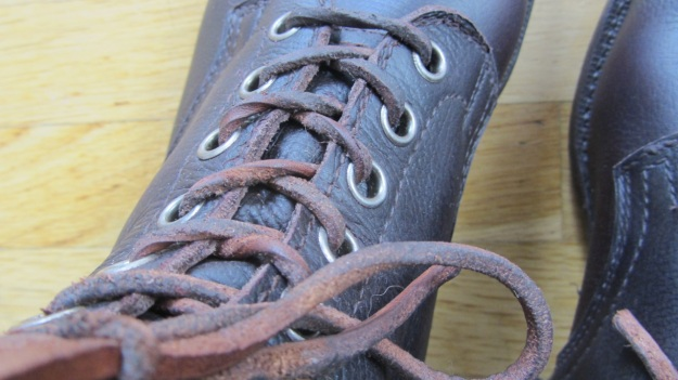 Swedish Army boots from 1943 after the resole - view from the top with the leather shoelaces