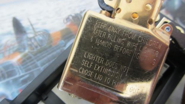 brand new brass zippo lighter before beeing treated from feinschmuck security notice