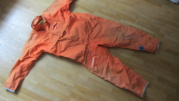 henri lloyd vintage sailing drysuit orange - full view front