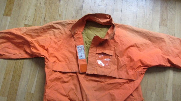 henri lloyd vintage sailing drysuit orange - front entry closed