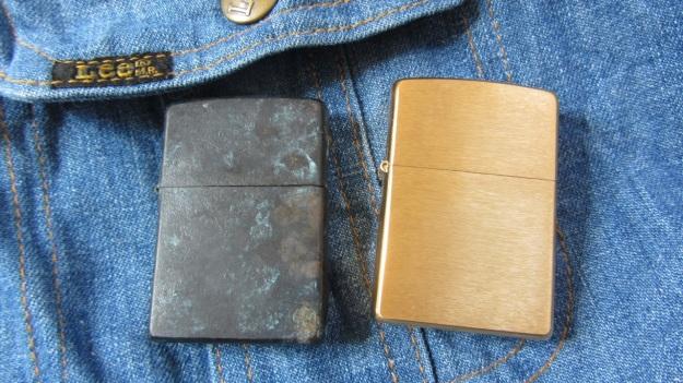 Brass zippo lighter rapidly vintaged by feinschmuck new vs old