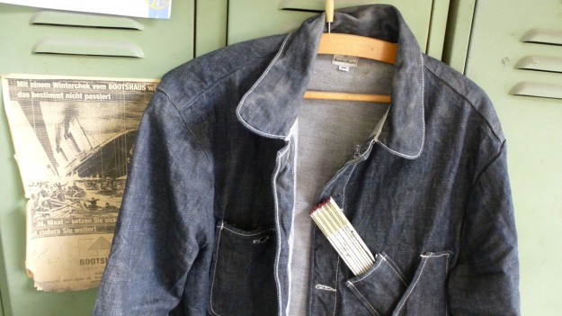 Denim Chore Coat by Tellason as workwear - arrived at the shipyard detail