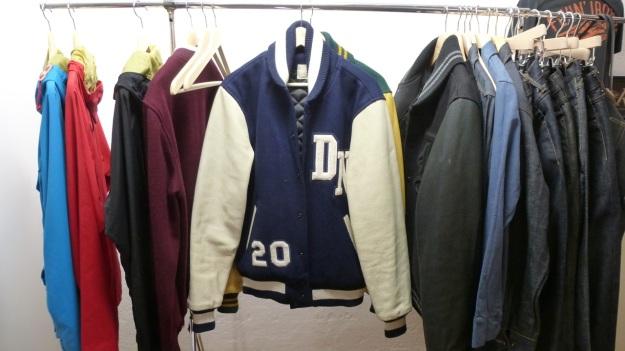 Amtraq and Merz b. Schwanen Showroom Munich - dehen baseball jacket blue and white