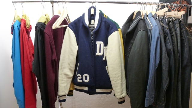 Amtraq and Merz b. Schwanen Showroom Munich - dehen baseball jacket blue and white