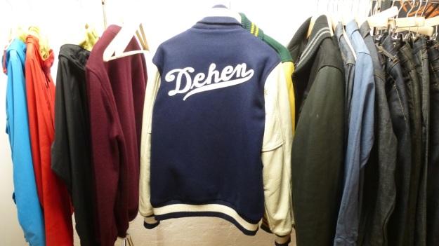 Amtraq and Merz b. Schwanen Showroom Munich - dehen baseball jacket blue and white backside