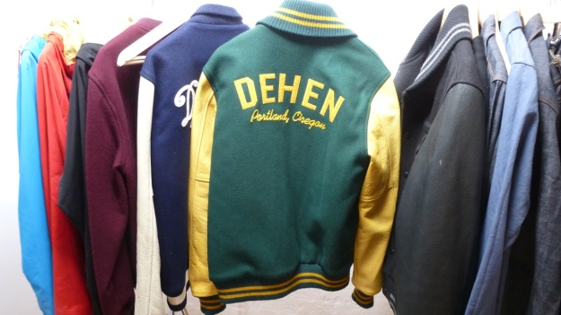 Amtraq and Merz b. Schwanen Showroom Munich - dehen baseball jacket green and yellow