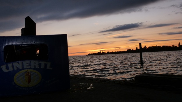 bbq at the lake & Unertl beer! Unertl beer case with sundowner