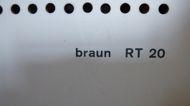 Braun RT 20 Radio - type print backside