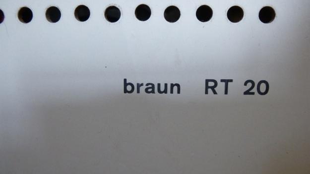Braun RT 20 Radio - type print backside