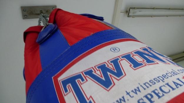 undusting my homegym - punching bag twins medium
