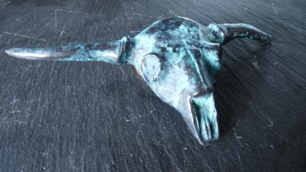 longhorn skull belt buckle by feinschmuck - vintaged bronze