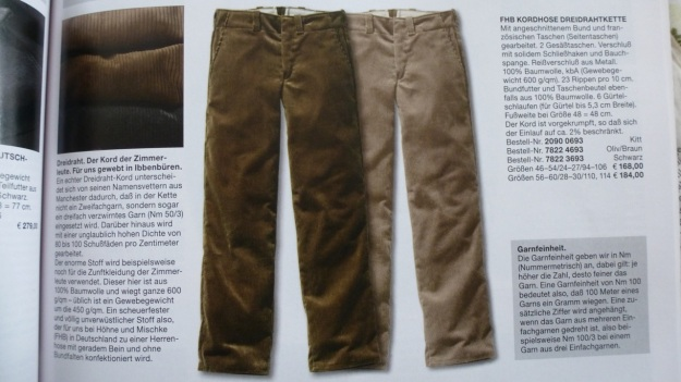 Manufactum Nr. 25 Summer 2012 personal highlights - conduroy pants