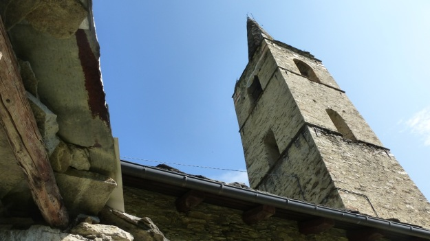 Valle Maira - Cemetery church tower, clock tower