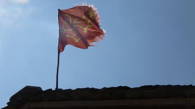 Occitan cross flag, valle maira. maira valley - palent