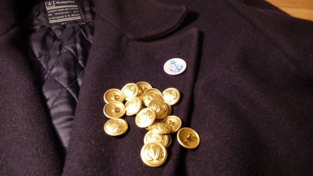 Golden Navy Anchor buttons - Amor Lux Caban Jacket