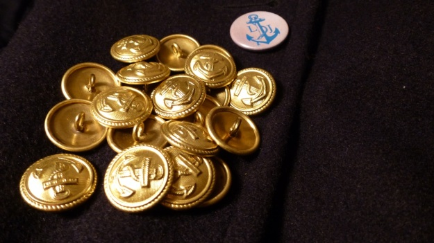 Golden Navy Anchor buttons - Amor Lux Caban Jacket long john