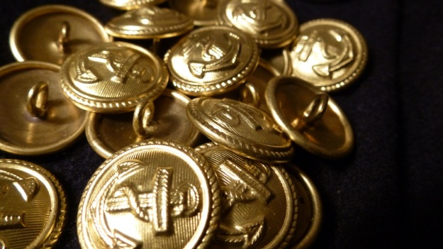 Golden Navy Anchor buttons - Amor Lux Caban Jacket full macro