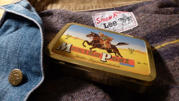 Mexico Post cigar tin box - lee storm rider details - overview denim jacket and tin box