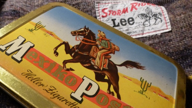 Mexico Post cigar tin box - lee storm rider details, tin box closeup