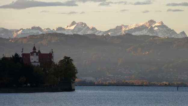 Mountain panorama with snow Säntis - Bodensee - Lindau 3